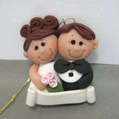*POLYMER CLAY ~ Wedding Ornament First Christmas Together polymer clay Made To Order