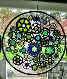 Rueda de bicicleta de vidrieras temática agua por VeloGioielli