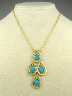 New Boho Gold Dangle Cascade Turquoise Pendant Necklace by Liza Kim