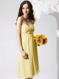 A-line Sweetheart Bowknot Sleeveless Knee-length Chiffon Daffodil Bridesmaid Dress