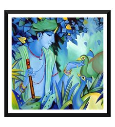 Mughal Paintings, Persian Miniatures, Rajasthani art and other fine Indian paintings for sale at the best value and selection. Krishna Painting, Krishna Art, Shree Krishna, Radhe Krishna, Lord Krishna, Mughal Paintings, Indian Art Paintings, Meditation France, Poster Color Painting