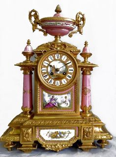 Other Antique Furniture Antique Furniture Antique French Marquetry Mahogany Mantle Clock C.1900 By Scientific Process
