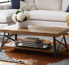 Rustic Coffee Table Reclaimed Solid Wood Farmhouse Industrial Vintage Metal Legs #EmeraldHome #RusticIndustrial