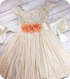 Peach Flower Vintage Crochet Dress