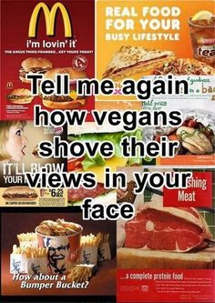 Not a vegan (or vegetarian) but I advocate for eating less meat always. And realize that an animal gave their life for your food. I hate when others glorify eating meat and act like it's the cool thing to do. Vegan Facts, Vegan Memes, Vegan Quotes, Vegetarian Memes, Vegan Funny, Real Food Recipes, Vegan Recipes, Vegan Food, Yummy Food