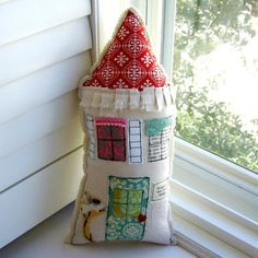 Image result for embroidered house shaped pillow
