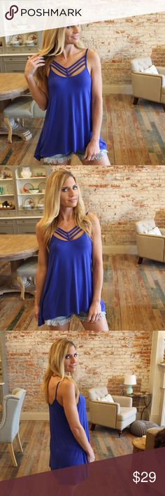 """Blue cross detail tank Modeling size small, 95% rayon 5% spandex. Bust laying flat: S 18"""" M 19"""" L 20"""" Length S 27/30"""" M 28/31"""" L 29/32"""". Add to bundle to save when purchasing.  TM8770512 Tops Tank Tops"""