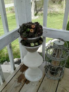 Glass shades upcycled into succulent urn :)