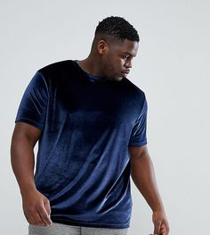 ASOS PLUS T-Shirt In Velour In Navy - Navy