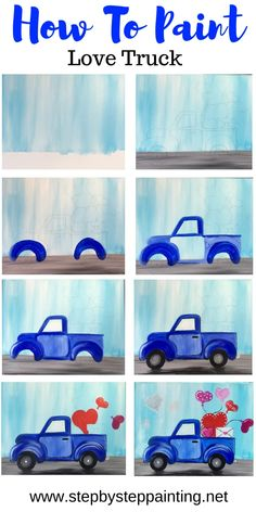 Love Truck Painting - Step By Step Tutorial - With Pictures And Video Learn to paint a love truck painting with acrylic is on canvas! This step by step FREE online tutorial includes a traceable and detailed instructions Cute Canvas Paintings, Canvas Painting Tutorials, Easy Canvas Painting, Diy Canvas Art, Painting Techniques, Diy Painting, Painting & Drawing, Blue Painting, Canvas Ideas