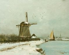 Lodewijk Franciscus Hendrik 'Louis' Apol (Den Haag A snow-covered polder landscape - Dutch Art Gallery Simonis and Buunk Ede, Netherlands. Winter Painting, Winter Art, La Haye, Medieval Life, Dutch Painters, Windmill, Watercolor Art, Netherlands, Art Gallery