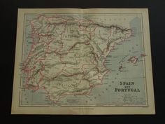 Original 1897 map of Spain and Portugal  old by DecorativePrints