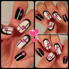 Monochrome Geometric Nail Art | Mix 'n' Match Nails ♥ Геометрический Дизайн Ногтей