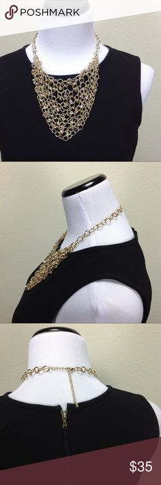 Gold Chain Link & Rhinestone Bib Necklace Beautiful gold chain link bib necklace with rhinestone dispersed throughout to add a bit of sparkle. With small lobster clasp and adjustable chai. In excellent condition!  Thanks for your interest!  Please checkout the rest of my closet. Jewelry Necklaces
