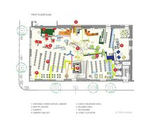 Plan, and Map of the neighborhood - Children's Library Discovery Center / 1100 Architect,Plan 01 01 Auditorium Architecture, Library Architecture, Architecture Concept Drawings, Architecture Plan, The Plan, How To Plan, School Floor Plan, School Plan, Library Floor Plan