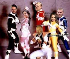 The WWE Authority as the Power Rangers! Triple H, Randy Orton, Kane, Seth Rollins, Stephanie McMahon, and Brie Bella. Hilarious!