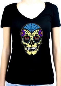 "Yellow Sugar Skull Women's V-neck Shirt ""Dia De Los Muertos"" Day of the Dead  #punkrock #nugoth #psychobillygirl #batcave #gothgoth #oi #vampiregirl #nugothgirl #altgirl #goth"