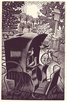 Eric Ravilious: Wood-engraving for 'The Hansom Cab and the Pigeons' by L.A.G. Strong, 1935