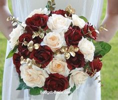 I like the dark red with white/champagne flowers