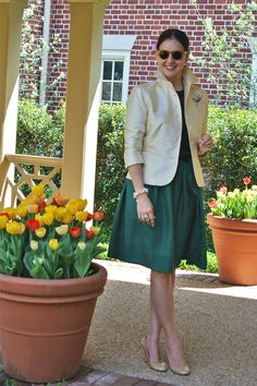 Blazer over a full skirted dress for dressier occasions
