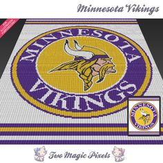 Minnesota Vikings c2c graph crochet pattern; instant PDF download; bed blanket…