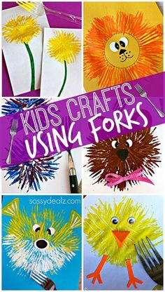 Fun Kids Crafts Using a Fork! Find a dandelion, chick, bear, fireworks, lion, puffer fish and more! | CraftyMorning.com