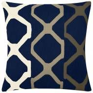 Judy Ross Textiles Hand-Embroidered Chain Stitch Arbor Throw Pillow navy/cream/oyster/iron