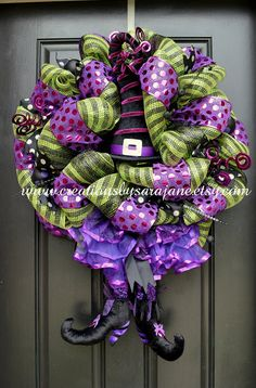 Halloween Witch Wreath by CreationsbySaraJane at www.creationsbysarajane.etsy.com