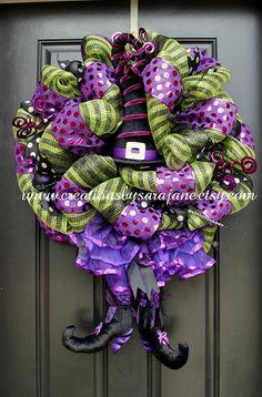 Halloween Witch Wreath - Mesh Halloween Wreath - Mesh Witch Wreath on Etsy, $140.00