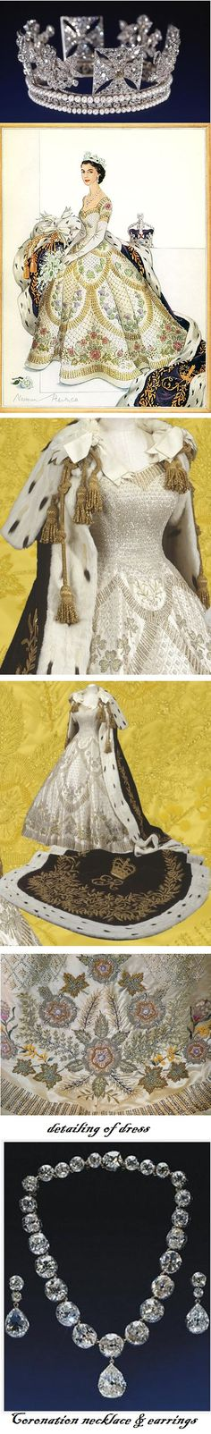 Queen Elizabeth's coronation gown, jewelry, and crown.