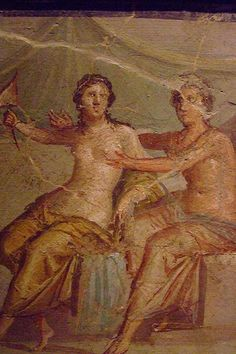 Erotic fresco excavated from Pompeii displayed in the 'Secret Room' of the Naples Archaeological Museum
