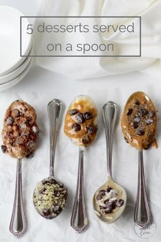 5 delicious and healthy spoonfuls of dessert. Tahini, coconut oil, nut butter, chocolate - so many combos to try! | www.nourishmovelove.com