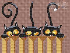 Cross Stitch Owl, Cat Cross Stitches, Halloween Cross Stitches, Cross Stitch Animals, Cross Stitch Charts, Cross Stitching, Cross Stitch Embroidery, Cross Stitch Patterns, Loom Patterns
