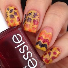 Beautiful fall nails by @get.that.polish using Whats Up Nails leaves stencils and skinny zig zag tape from whatsupnails.com @whatsupnails