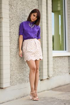 royal purple with double scalllop skirt