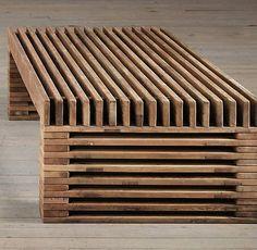 RESTORATION HARDWARE 51 Coffee Table Reclaimed Wood Timber Slat