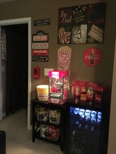 Home movie theater concession stand diy movie theater room, movie theater basement, teen basement Deco Cinema, Movie Theater Rooms, Movie Rooms, Home Theatre Rooms, Home Cinema Room, Tv Rooms, Gaming Rooms, Sweet Home, Game Room Decor