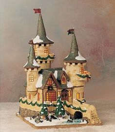 "Former Second-Place Winner Arla Gibbons of North Logan, UT, achieved a ""ye olde castle"" look by brushing luster dust over the turrets' chewing-gum shingles and adding toffee rocks. - GoodHousekeeping.com"