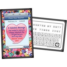 Modern Valentine's!  Heart-Phone Valentine From Your Teacher Cards with word puzzle on the back