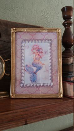8687146272 Vintage gold frame with shell detail and by ThisThatAndTheGoods Shabby Chic  Pink