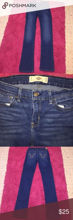 Hollister Low Rise Bootcut Jeans Cute Hollister Dark Rinse Hollister Low Rise Bootcut Jeans Size 28L! They are in excellent condition minus where the Pants drug the ground from being too long on me there is some minor staining can be seen in last photo other than that they are fine! Waist Measurement 14in. Inseam 35in. Rise 8in. Made of 82% Cotton 17% Polyester 1% Elastane. Hollister Jeans Boot Cut