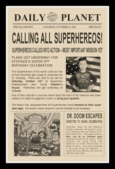 creative ideas for the invitation of a superhero party. for all superman, batman or flash parties. Superman Party, Superman Birthday, Superhero Birthday Party, Birthday Fun, Birthday Party Themes, Birthday Ideas, Superhero Superhero, Avenger Party, Birthday Party Invitations