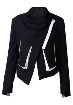 Black Stand Collar Long Sleeve Crop Jacket