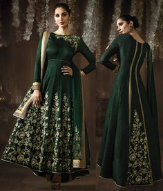 This is unstitched suit. As shown bottom and dupatta comes along with this. This suit can be customize upto fabric limitation and patch pattern. Slight variation in color is possible. Churidar, Salwar Kameez, Eid Collection 2017, Anarkali Suits, Silk, Green, Fabric, Color, Dresses