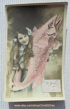 French Antique Postcard - Girl Holding a Large Pink Fish (Poisson D'Avril / April 1st) by ChicEtChoc on Etsy