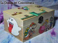 Caja Mario Bros Caja pirograbada hecha a mano.  fb.com/laposada.delcoleccionista