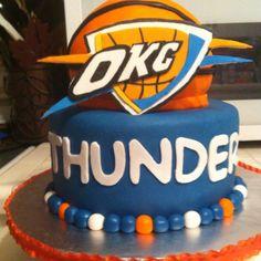 OKC Thunder cake: Grooms Cake or a birthday cake for meeee Thunder Cake, Birthday Cake Girls, 9th Birthday, Birthday Cakes, Birthday Ideas, Yummy Treats, Sweet Treats, Basketball Baby Shower, Cake Central