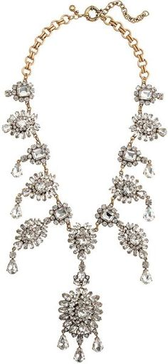 J.crew White Grande Crystal Drops Statement Necklace