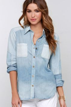 Simple Abundance Light Wash Jean Long Sleeve Button-Up Top at Lulus.com!