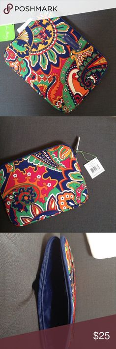 "VERA BRADLEY NEOPRENE TABLET SLEEVE New with tags Vera Bradley neoprene full size tablet sleeve Venitian paisley pattern  This tablet sleeve will fit most full size tablets including iPad  Neoprene protective material   MSRP $48.00  10"" W x 8"" H x 3/4"" D  Smoke/pet free home Vera Bradley Accessories Tablet Cases"